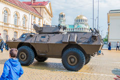 Four-wheeled armored vehicles commando select on military hardware parade. Stock Images