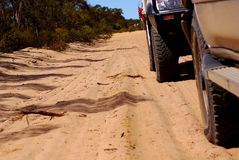 Four-Wheeled Driving. Two 4wds on a sandy track in the Wyperfeld National Park, Mallee Desert, Australia Royalty Free Stock Photography
