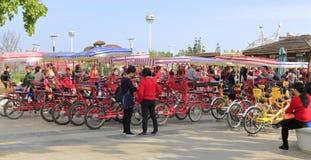 Four-wheeled sightseeing bike in yuanboyuan park, adobe rgb Royalty Free Stock Image