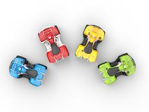 Four wheeler bikes in a semi-circle Royalty Free Stock Images