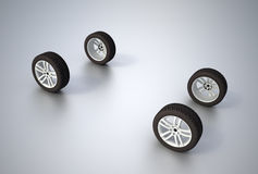 Four wheels. On a flat surface Royalty Free Stock Images