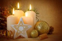 Four white  advent candles. Stock Photos