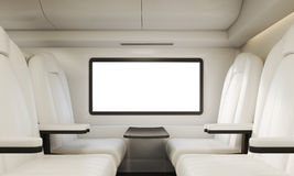 Four white armchairs in compartment Royalty Free Stock Photography