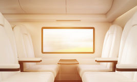 Four white armchairs in sunlit compartment Stock Image