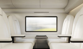 Four white armchairs and table in compartment Royalty Free Stock Photo