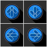 Four white, blue arrows - black shadows Royalty Free Stock Photography
