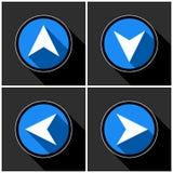 Four white, blue arrows with black shadows Royalty Free Stock Photo