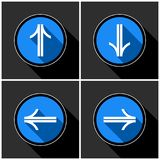 Four white, blue arrows with black shadows Royalty Free Stock Images