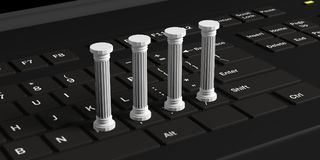 Four classical pillars on a black computer keyboard. 3d illustration. Four white classical pillars on a black computer keyboard. 3d illustration Royalty Free Stock Photos