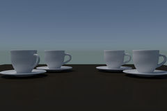 Four white coffee cups with saucer on a dark reflective surface. 3D rendering of white coffee cups with saucer on a dark reflective surface Stock Photos