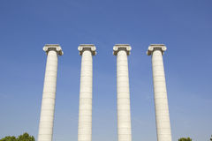 Four white columns, Barcelona Royalty Free Stock Photography