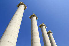 Four white columns, Barcelona Stock Photo