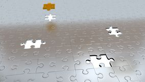 Four White Holes in Puzzle Pieces floor with One Gold Piece above all other Royalty Free Stock Photos