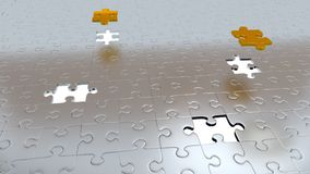 Four White Holes in Puzzle Pieces floor with Two Gold Pieces above all other Stock Images