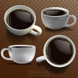 Four white porcelain coffee cups in different angles on a checke vector illustration