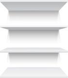 Four white realistic shelves Stock Photos