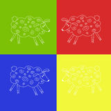 Four white sheep in a multi-colored bright background Royalty Free Stock Photo
