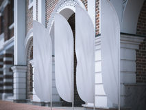 Four white vertical wind banners. 3d rendering Royalty Free Stock Images