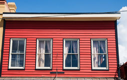 Four Windows in Red Wall Royalty Free Stock Photography