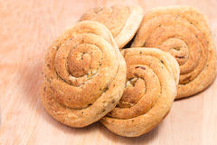 Four wholemeal buns with onions stock photos