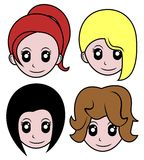 Four wigs Royalty Free Stock Photo