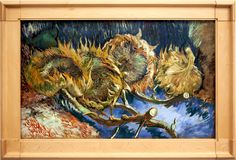 `Four wilting sunflowers.` Picture of Van Gogh. The Kröller-Müller Museum. Otterlo. Netherlands royalty free stock image