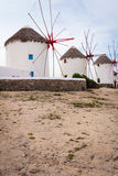 Four windmills in Chora Mykonos Greece Royalty Free Stock Photo
