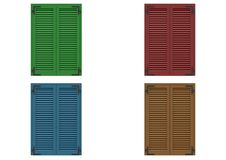 Four window closed with colored venetian. Four window closed with colored venetian shutters, closeup front view, 3D rendering Royalty Free Stock Image