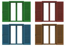Four window open with colored venetian shutters, closeup front v. Iew, 3D rendering stock illustration