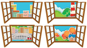 Four window scences of city and countryside Royalty Free Stock Photography
