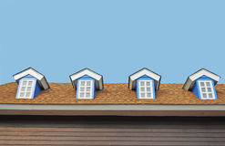 Four windows on top roof. Beautiful four windows on top roof of modern buildings Royalty Free Stock Images