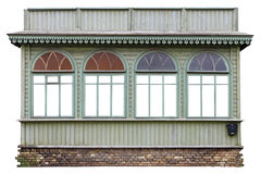 Four windows in the wooden green vintage retro house Royalty Free Stock Image