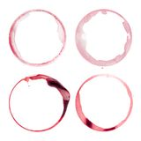 Four wine glass stains Stock Photos