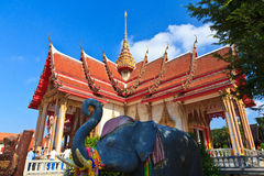 Four wings Thai Temple Wat Chalong and elephant Stock Image