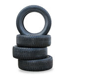 Four winter new tires over white Royalty Free Stock Photo