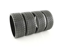 Four winter tires Stock Photo