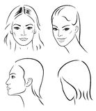 Four woman outline faces Stock Images