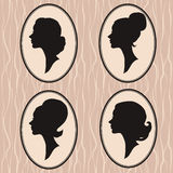 Four woman silhouette Royalty Free Stock Images