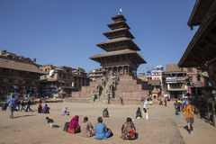 Four women in Durbar square, Bhaktapur Stock Images