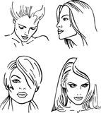 Four women outlined faces () Stock Photo