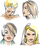 Four women outlined faces (vector) Royalty Free Stock Image