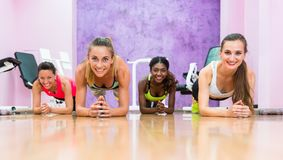 Four women practicing forearm plank position during group class royalty free stock photo