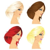 Four women profile with different hair color Royalty Free Stock Photography