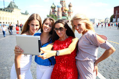 Four women at the red square in Moscow Royalty Free Stock Photos