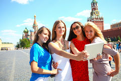 Four women at the red square in Moscow Royalty Free Stock Images