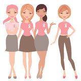 Four women wearing  breast cancer awareness ribbon Stock Image