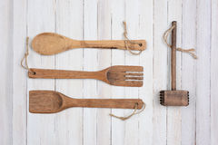 Four Wood Kitchens Utensils Royalty Free Stock Photos