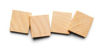 Four Wood Tiles. With Copy Space Isolated on a White Background Stock Photography