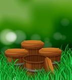 Four wooden barrels in garden Stock Photo