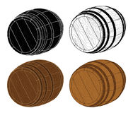 Four Wooden Barrels Vector Royalty Free Stock Images
